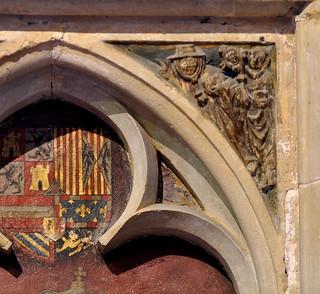 Kortrijk, West-Vlaanderen, Onze-Lieve-Vrouw, gravenkapel, zwikken, south wall, legend of St. Willibrord