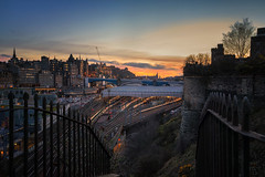 Edinburgh Waverley from Jacobs Ladder (MilesGrayPhotography (AnimalsBeforeHumans)) Tags: 1635 fe1635mm sonyfe1635mmf4zaoss architecture auldreekie a7ii waverley waverleytrainstation trainstation britain bridge jaccobsladder steps city cityscape castle dusk edinburgh europe evening edinburghcastle fe f4 glow golden goldenhour historic historicscotland iconic ilce7m2 landscape lens landscapephotography monument oldtown oldcaltoncemetery photography photo tranquil rocks ruins royalmile scotland sky scenic skyline sunset sunlight sunshine sonya7ii sony spring scottish scottishlandscapephotography sonyflickraward town twilight trees uk unitedkingdom unesco volcanic wide zeiss