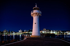 Wollongong Breakwater Lighthouse (Tony Steinberg Photography) Tags: 18x12 australia blue breakwater building cement city cityscape coastal colour concrete copyright copyrightarsteinbergallrightsreserved heritage historical horizon iconic image landmark landscape lightpainting lighthouse manmade metal nsw old outdoors outside peaceful photo photograph quiet scene scenic sky stars steel structure tall tonysteinberg tourism touristattraction tower traditional tranquil travel used water white wollongong wollongongbreakwaterlighthouse â©2015