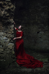 The Lost Princess I (Ruby Hyde) Tags: red dress princess queen girl woman magic fairytale fineart fineartphotography conceptual surreal castle tower stones crimson