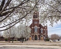 Bradford Pear on a Spring Day (A Anderson Photography, over 2.3 million views) Tags: pear bradfordpear canon spring blooms church brick trees architecture