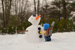Do you wanna build a Joe-man? (067/365) (robjvale) Tags: nikon d3200 adventurerjoe lego snowman snow winter trees carrot eyes buttons build project365