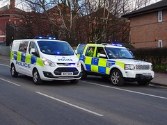 West Midlands Police 'Operational Support Unit' Tactical Support Ford Transit BX17 GKN (OPS121) and Land Rover Discovery BX62 AXK (HP66), Birmingham. (Vinnyman1) Tags: west midlands police operational support unit tactical tac team ford transit bx17 gkn ops121 tst public order van carrier operations osu land rover discovery bx62 axk hp66 birmingham hire pool spare bronze command wmp psu moe method of entry cbrn chemical biological radiological nuclear defense emergency services service rescue 999