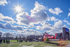 London air ambulance in Walthamstow (Paul Wrights Reserved) Tags: helicopter airambulance london sky skyscape cloud clouds cloudscape walthamstow sun sunburst chopper people bluesky sunlight starlight scene landscape las londonambulanceservicestreet photography