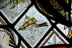 Clipsham, St Mary's church, N Chapel window detail (Jules & Jenny) Tags: clipsham stainedglasswindow bird rutland medieval stmaryschurch