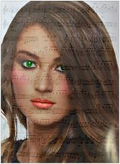 Sei la mia canzone preferita... (antonè) Tags: ritratto donna spartito note musica canzone alexbaroni poster elaborazione
