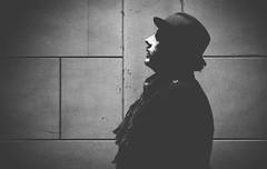 don´t be afraid in the dark (ThorstenKoch) Tags: düsseldorf street streetphotography streetportrait dark night licht lights lines linien light pov photography people pattern schatten schwarzweiss scary blackwhite bnw fuji fujifilm thorstenkoch monochrome man hat