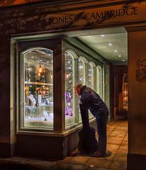 Window Shopping (Laura Drury) Tags: shopping cambridge windowshopping jewellers night dark evening guitar musician lights shop throughherlens