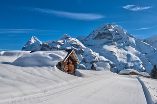 Murren and the Jungfrau Mountain at winter time  . Berner Oberland, Canton of Bern, Switzerland.