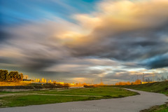 A view at the bicycle track (Nenad Bogoevski Photos) Tags: bicycle track longexposure sky clouds skopje скопје macedonia македонија небо облаци sunset sunrays kej кеј photoshop timelapse birds anticrepuscular antisolar rays