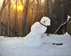Here Comes the Sun (Chancy Rendezvous) Tags: sun melt melting snow snowman left liberal sunrise woods trees nikkor nikon frosty
