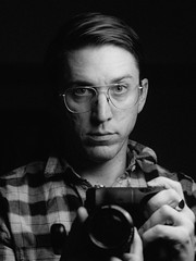 Selfie, Age 36 (robblr) Tags: selfie 645 digital blackandwhite strobist yongnuo westcott octa mini 85mm sonya7 minolta 8517 robbhohmann dc dcist washington portrait glasses monochrome aoeyewear vsco iso400