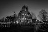 GGZ Keizersgracht (dutchlander) Tags: amsterdam noordholland netherlands nl night street lamp lights illuminated bridge bicycle architecture buildng exterior tree monochrome bw blackandwhite church tower westerkerk keizersgracht