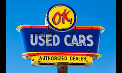 They're ok (Whitney Lake) Tags: vintage cars usedcars ok neon sign