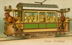 Streetcar Chicks with Rooster Conductor for Easter (Alan Mays) Tags: ephemera postcards greetingcards greetings cards eastercards paper printed easter holidays chickens chicks birds poultry animals anthropomorphic anthropomorphism conductors streetcarconductors passengers streetcars trolleys railways railroads trains railroadtracks tracks transport transportation illustrations humor humorous funny comic yellow green brown antique old vintage typefaces type typography fonts