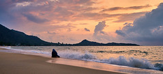 Clam Digging, Koh Samui (Vest der ute) Tags: g7xm2 g7xll sea seascape sky sunrise landscape water clouds mountain beach sand waves women softlight earlymorning fav200