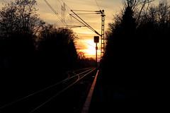 Yearning, Burning (grobigrobsen) Tags: sundown sonnenuntergang gleise train tracks red yellow sky evening