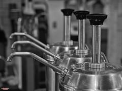 Getting Pumped (MBates Foto) Tags: ambientlight availablelight blackandwhite bokeh coffeeshop existinglight indoors metal monochrome nikkorlens nikon nikond810 pumps spokane washington unitedstates 99208
