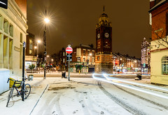Memories (George Plakides) Tags: snow beastfromtheeast crouchend westonpark lighttrails clocktower bicycle lampposts