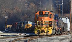 BTNC departing New Castle (GLC 392) Tags: btnc buffalo pittsburgh pa pennsylvania new castle emd sd45 gp40 458 bprr 302 allegheny railroad railway train tree aly sd452 sd60i 8752 csx csxt