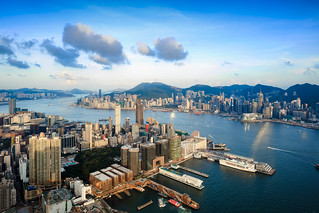 Hong Kong city aerial view with urban skyscrapers, View from Sky 100, Hong Kong