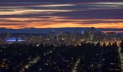 Vancouver's Lights (Clayton Perry Photoworks) Tags: vancouver bc canada winter burnaby capitolhill explorebc explorecanada night lights sunset bcplacestadium clouds panorama