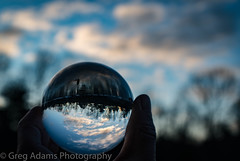 Crystal Sunrise (Greg Adams Photography) Tags: crystal ball sunrise dawn clouds sky globe refraction light trees pennsylvania pa poconos poconomountains eastcoast usa hhsc2000 winter 2018