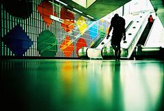 Lomo – this way out (lomomowlem) Tags: 35mm analogue crossprocess colourstreambrighton expiredfilm escalator groundshot kodakelitechrome lomo lomography lca lofi lowdown urban londonunderground travel ratseye silhouette xpro xprocess