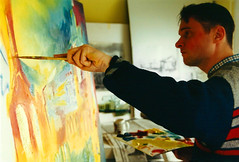 Stephen B. Whatley Painting Butler's Wharf in 2000. (Stephen B. Whatley) Tags: art expressionism artist painter stephenbwhatley artiststephenbwhatley whatley artiststephenwhatley artistpainting painting oilpainting contemporaryart modernart artworld toweroflondon toweroflondoncommission millennium 2000 man male paintbrush artistic canvas butlerswharf london artistsstudio studio action passion energy concentration historicroyalpalaces uk tourism fineart towerhill towerbridge abigfave anawesomeshot blueribbonwinner