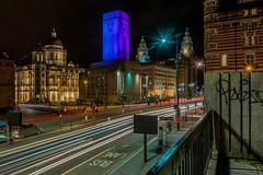 Port of Liverpool Building, Georges Dock Building, Cunard Building and Liver Building, The Strand, Liverpool (paullee66416) Tags: graffiti light streaks road traffic car