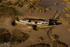 Boat Wreck (geraintparry) Tags: south wales southwales geraint parry geraintparry dji phantom 3 pro djiphantom aerial drone barry harbour boat boats ship wreck wrecked old abandoned beach sand