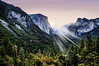 Break of Day (My Americana) Tags: yosemitenationalpark yosemite valley elcapitan bridalveil falls halfdome trees sunrise dawn nationalpark np daybreak