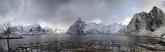 Hamnoy (Joost10000) Tags: snow ice mountain mountains sky landscape landschaft water ocean atlantic sea winter cold chill travel lofoten outdoors wild wilderness adventure arctic norway norge norwegen noorwegen europe lapland canon canon5d eos village fishing hamnoy flakstadoya