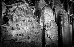 Graveyard Headstones (King Grecko) Tags: architecture bw cityoflondon england london memorial oldfashioned outdoors stone traveldestinations abandoned black blackandwhite burial canon churchyard clarity contrast creepy death depthoffield grave graveyard halloween headstone history masonry old postmanspark respect texture tombstone