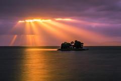 sunset 2125 (junjiaoyama) Tags: japan sunset sky light cloud weather landscape orange purple color lake island water nature calmness reflection rays beams spring