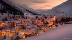 Andermatt, the cozy hub of the SwissAlps (reneschaedler) Tags: nikon uri göschenen goeschenen gemsstock rhaetischebahn oberalppass skiing schweiz switzerland schaedler rene evening snow sedrun gotthard longexposure night lights village andermatt winter winterscape