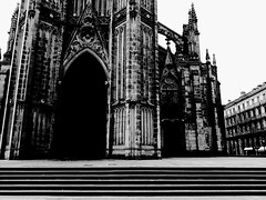 The Horror of Dracula #1 (Josu Sein) Tags: donostia sansebastián gipuzkoa guipúzcoa euskadi euskalherria basquecountry monochrome monocromo highcontrast altocontraste cathedral catedral dark oscuro mystery misterio horror terror surrealism surrealismo expressionism expresionismo urban urbano city ciudad