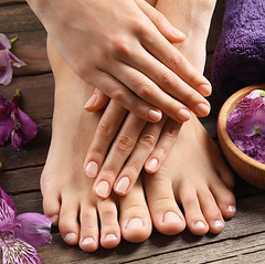 Female feet at spa pedicure procedure (Taksu Images) Tags: alstroemeria background bath beauty body care clean closeup color concept feet female floor flower flowers foot healthy human hygiene leg legs lifestyle manicure nail natural pamper pampering pedicure people plank planks procedure purple relax relaxing rustic salon salt sea skin soft spa therapy toe toenail toes treatment wellness woman wooden