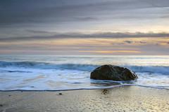 A rock stood alone (Howie Mudge LRPS BPE1*) Tags: sea sand sky clouds rock water seascape landscape nature outside outdoors greatoutdoors coast coastaltown tywyn gwynedd wales cymru uk sony sonya7ii sonyilce7m2 adapter adaptedlens canon1740f4l sunset goldenhour lastlight postcard