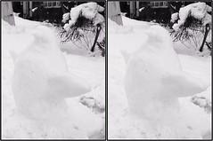 snow penguin bw