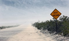 Windy Conditions / Death Valley National Park (Ron Wolf) Tags: deathvalleynationalpark nationalpark panamintvalley desert landscape nature playa road sign weather wind california sand