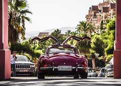 300 SL (Qentmartstyle) Tags: mercedes benz 300 sl red rouge rojo autobello spain marbella puerto banus gullwing doors up back ass sun sunset qentmart quentmart canon 6d magna supercar classic classique beuaty beautiful lovecars