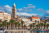 Sea and Mountain Air (fotofrysk) Tags: riva parade people tourists locals tower cathedraltower palmtrees mpintains clouds sky harbour gradskaluka bay diocletianspalace romanfortress oldstones istriamontenegroroadtrip buildings architecture croatia split adriaticcoast dalmatiancoast afsnikkor703004556g nikond7100 201710079753