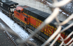 BNSF Railway, BNSF 4000, GE C44-9W (Dash 9-44CW), in Staten Island, New York, USA. March, 2018 (Tom Turner - NYC) Tags: bnsfrailway orange gec449wdash944cw gec449w locomotive train railroad statenisland newyork nyc bigapple usa unitedstates spot spotting tom tomturner transport transportation track bnsf bnsf4000 pumpkin