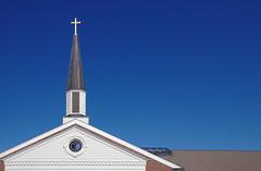 Sacred Heart Steeple - #week11 Negative Space #dogwood2018 (R. Miska Seeking Light) Tags: dogwood2018 week11 negativespace church sky steeple cross