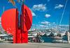 Marina Sculpture (fotofrysk) Tags: sculpture modernist red steel splitharbour view boats pleasureboats sailboats marina water sea sky blue adriaticsea theadriatic istriamontenegroroadtrip croatia split adriaticcoast dalmatiancoast sigma1750mmf28exdcoxhs nikond7100 201710079840