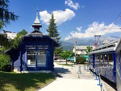 Railway Station Tramway du Mont Blanc. Saint-Gervais-les-Bains. (elsa11) Tags: montblanctramway tramwaydumontblanc hautesavoie montblancmassif niddaigle saintgervaislesbains bionassayglacier alps alpen france frankrijk train rackrailway mountains tramway
