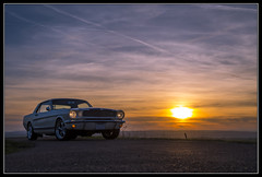 mustang 66' sunset 3 (gamelle71) Tags: ford mustang 1966 coucherdesoleil sunset voiture car musclecar ponycar pony