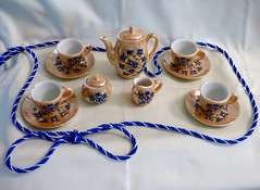 Orange Lustre Tea Set (M.P.N.texan) Tags: teaset childrens toy toys vintage orangelustre collectible collection china dish dishes cups saucers teapot