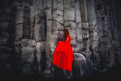 Barred Basalt (West Leigh) Tags: iceland vik travel travelphotography explore experience dream discover basalt cage free rise strength strong red dress wanderlust wander wandress woman girl